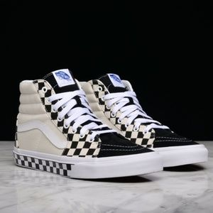 NWT VANS SK8-HI Checker S Sidewall Black White W